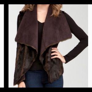 Bebe reversible faux suede faux fur vest brown s